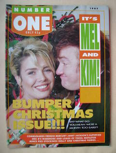 <!--1987-12-->NUMBER ONE Magazine - Kim Wilde and Mel Smith cover (Christma
