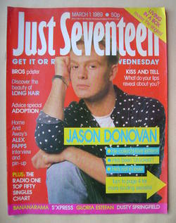 Just Seventeen magazine - 1 March 1989 - Jason Donovan cover