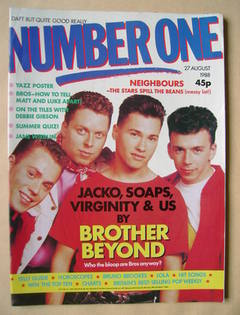 <!--1988-08-27-->NUMBER ONE Magazine - Brother Beyond cover (27 August 1988