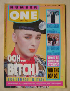 <!--1987-12-05-->NUMBER ONE Magazine - Boy George cover (5 December 1987)