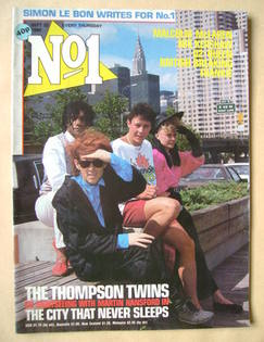 <!--1984-09-22-->No 1 Magazine - The Thompson Twins and Martin Hansford cov