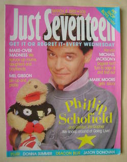 Just Seventeen magazine - 8 March 1989 - Phillip Schofield cover