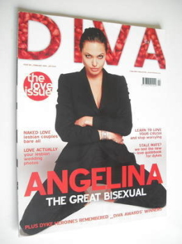 Diva magazine - Angelina Jolie cover (February 2005 - Issue 105)