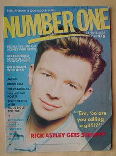 <!--1988-11-23-->NUMBER ONE Magazine - Rick Astley cover (23 November 1988)