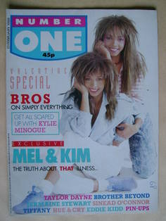 NUMBER ONE Magazine - Mel Appleby and Kim Appleby cover (13 February 1988)