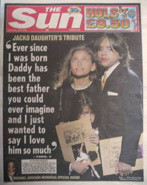 The Sun newspaper - Prince Michael, Paris Jackson and Blanket cover (8 July