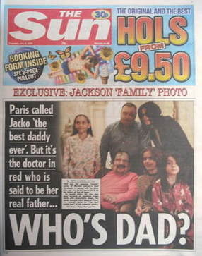 The Sun newspaper - Michael Jackson cover (9 July 2009)