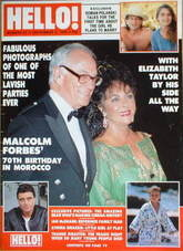 <!--1989-09-02-->Hello! magazine - Elizabeth Taylor and Malcolm Forbes cove