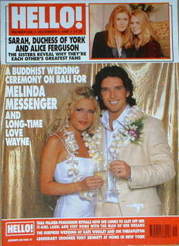 <!--1998-12-05-->Hello! magazine - Melinda Messenger wedding cover (5 Decem