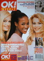 <!--1996-06-23-->OK! magazine - Karen Mulder, Naomi Campbell &amp; Claudia Schiffer cover (23 June 1996 - Issue 14)