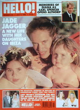 <!--1998-07-04-->Hello! magazine - Jade Jagger and daughters cover (4 July