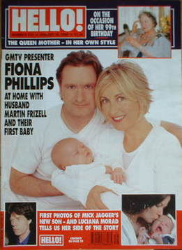 <!--1999-08-10-->Hello! magazine - Fiona Phillips and Martin Frizell and ba