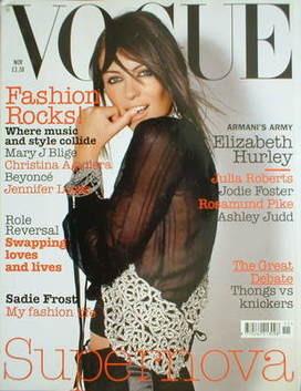 <!--2003-11-->British Vogue magazine - November 2003 - Elizabeth Hurley cov