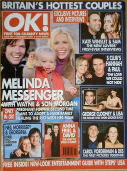 <!--2001-12-06-->OK! magazine - Melinda Messenger cover (6 December 2001 -