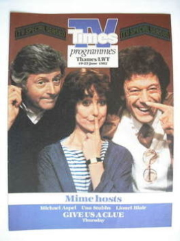 TV Times cover page - Michael Aspel, Una Stubbs and Lionel Blair (TV section - 19-25 June 1982)