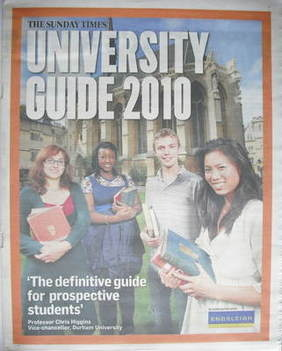 The Sunday Times newspaper supplement - University Guide 2010 (13 September