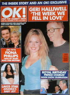 <!--1999-11-19-->OK! magazine - Geri Halliwell and Chris Evans cover (19 No