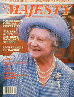 Majesty magazine - The Queen Mother cover (August 1985 - Volume 6 No 4)