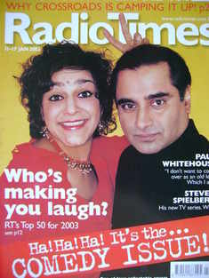 <!--2003-01-11-->Radio Times magazine - Meera Syal and Sanjeev Bhaskar cove