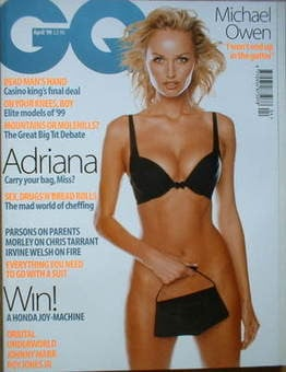 <!--1999-04-->British GQ magazine - April 1999 - Adriana Sklenarikova cover