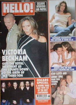 <!--2005-02-15-->Hello! magazine - David Beckham and Victoria Beckham cover