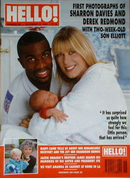 <!--1993-11-20-->Hello! magazine - Sharron Davies and Derek Redmond cover (