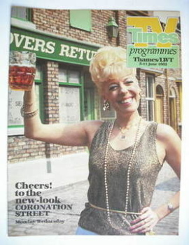 TV Times cover page - Bet Lynch (TV section - 5-11 June 1982)
