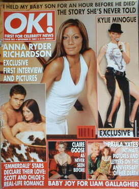 <!--2001-09-21-->OK! magazine - Anna Ryder Richardson cover (21 September 2