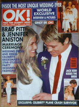 <!--2000-08-11-->OK! magazine - Brad Pitt and Jennifer Aniston wedding cove