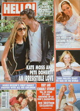 <!--2006-08-29-->Hello! magazine - Kate Moss and Pete Doherty cover (29 Aug