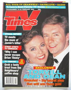 <!--1994-02-19-->TV Times magazine - Jayne Torvill and Christopher Dean cov
