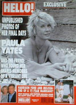 <!--2000-11-21-->Hello! magazine - Paula Yates cover (21 November 2000 - Is