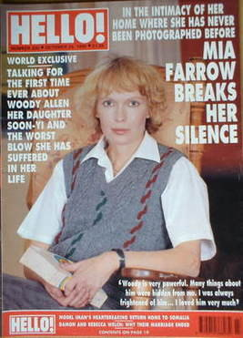 <!--1992-10-24-->Hello! magazine - Mia Farrow cover (24 October 1992 - Issu