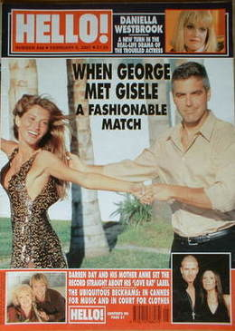<!--2001-02-06-->Hello! magazine - George Clooney and Gisele Bundchen cover
