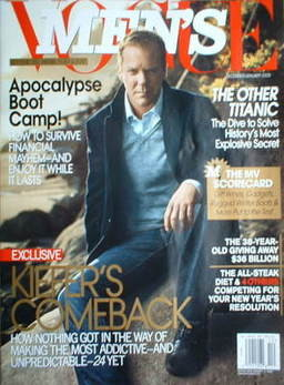 US Men's Vogue magazine - December 2008/January 2009 - Kiefer Sutherland cover