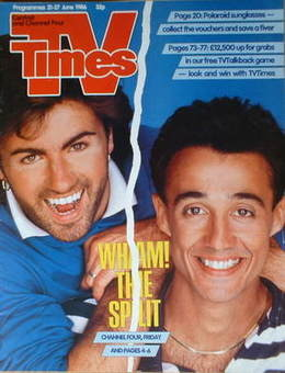 <!--1986-06-21-->TV Times magazine - Wham cover (21-27 June 1986)