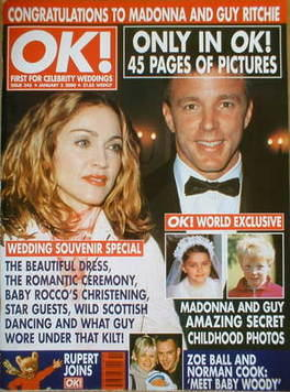 <!--2000-01-05-->OK! magazine - Madonna and Guy Ritchie cover (5 January 20