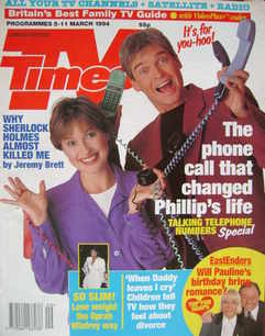 <!--1994-03-05-->TV Times magazine - Emma Forbes and Phillip Schofield cove