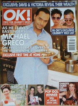 <!--2002-02-21-->OK! magazine - Michael Greco cover (21 February 2002 - Iss