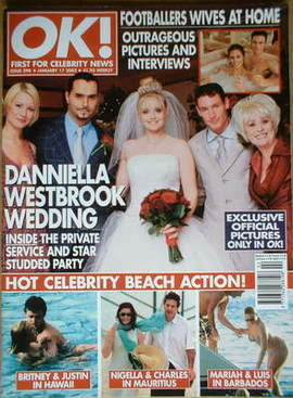 <!--2002-01-17-->OK! magazine - Danniella Westbrook wedding cover (17 Janua