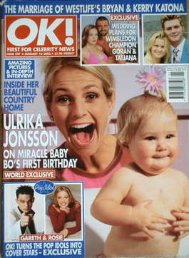 <!--2002-01-10-->OK! magazine - Ulrika Jonsson cover (10 January 2002 - Iss