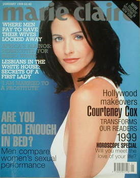 British Marie Claire magazine - January 1999 - Courteney Cox cover