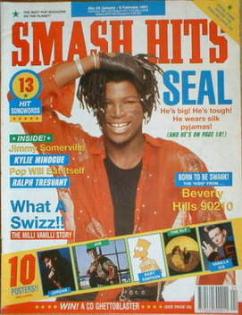 <!--1991-01-23-->Smash Hits magazine - Seal cover (23 January-5 February 19