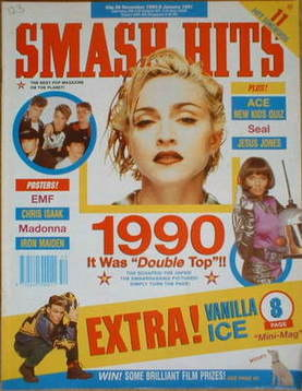<!--1990-12-26-->Smash Hits magazine - Madonna cover (26 December 1990-8 Ja