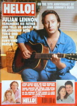 <!--1995-12-16-->Hello! magazine - Julian Lennon cover (16 December 1995 - Issue 386)