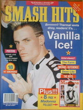 <!--1990-11-28-->Smash Hits magazine - Vanilla Ice cover (28 November-11 De