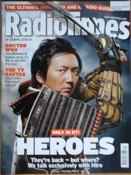 <!--2008-04-19-->Radio Times magazine - Heroes cover (19-25 April 2008)