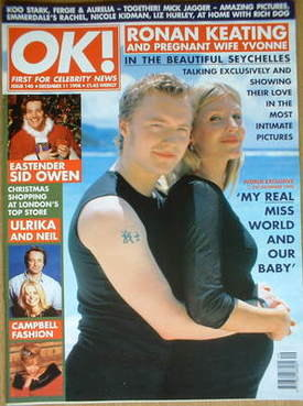 <!--1998-12-11-->OK! magazine - Ronan Keating and wife Yvonne cover (11 Dec