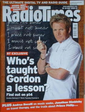 <!--2008-05-10-->Radio Times magazine - Gordon Ramsay cover (10-16 May 2008