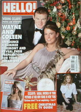 <!--2008-01-01-->Hello! magazine - Wayne Rooney and Coleen McLoughlin cover